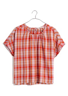 Madewell Plaid Shirred Neck Boxy Top