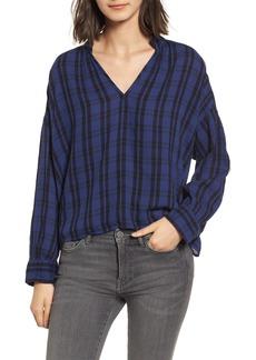 Madewell Plaid Shirred Neck Shirt