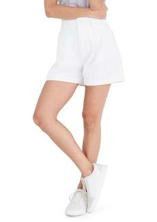 Madewell Pleated Denim Shorts (Tile White)