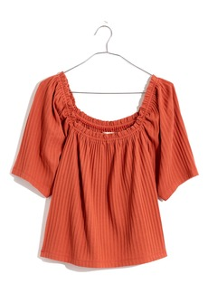 Madewell Pointelle Knit Peasant Top