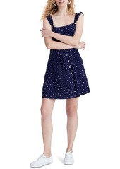 Madewell Polka Dot Ruffle Strap Button Front Dress