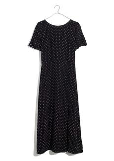 Madewell Polka Dot Silk Crewneck Midi Dress