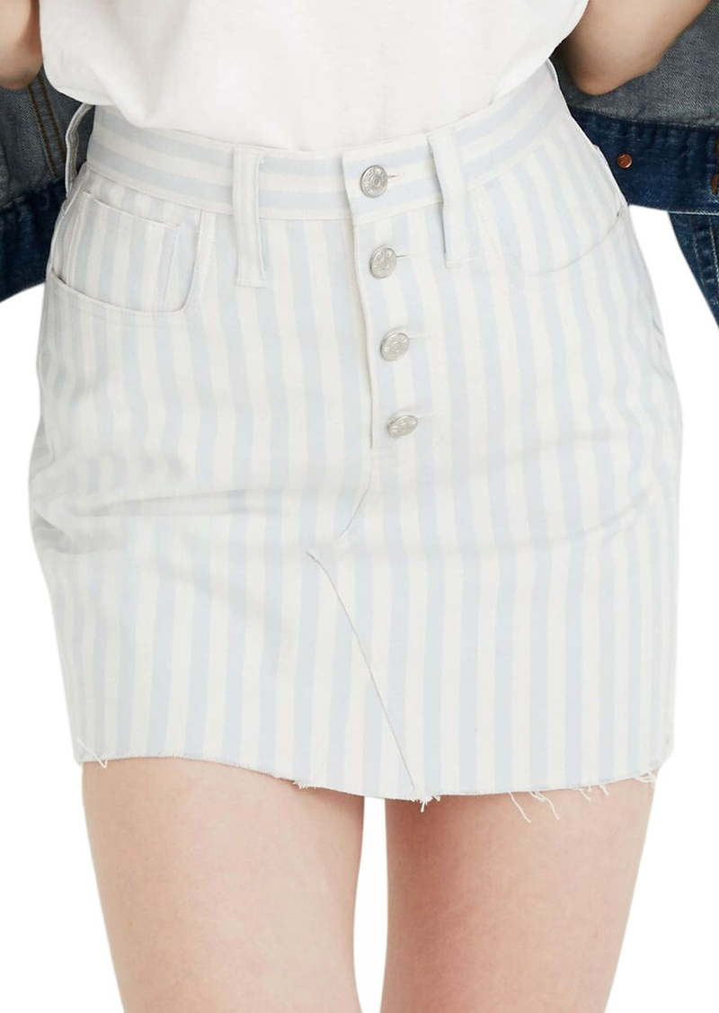 Madewell Pompano Stripe Stretch A-Line Miniskirt