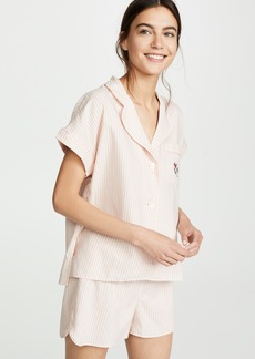 Madewell Poppy Embroidered Pajama Top in Allspice Stripe