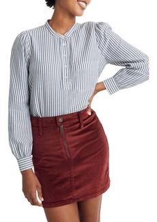 Madewell Puff-Sleeve Railroad Stripe Popover Shirt