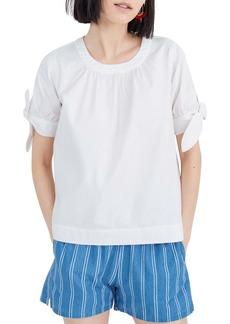 Madewell Pure White Tie Cuff Denim Shirt