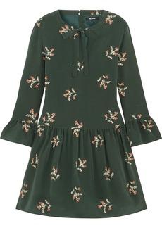Pussy-bow floral-print silk mini dress