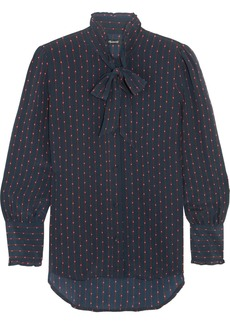 Madewell Pussy-bow printed silk crepe de chine blouse