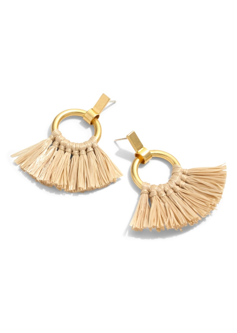 Madewell Raffia Tassel Hoop Earrings