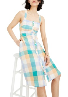 Madewell Rainbow Check Button Front Midi Dress