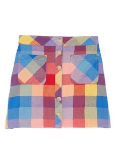 Madewell Rainbow Check Patch Pocket Miniskirt
