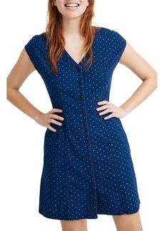 Madewell Rainbow Heart Indigo Cap Sleeve Button Front Dress