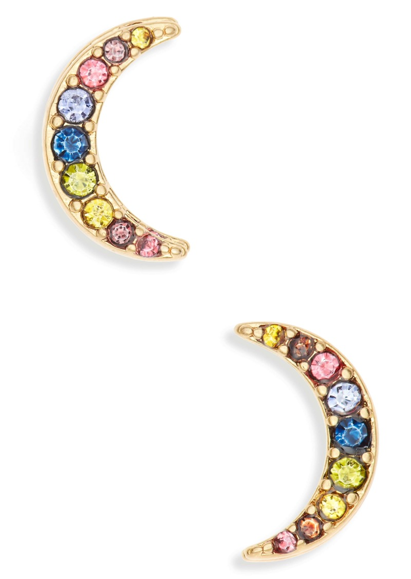 Madewell Rainbow Pavé Moon Stud Earrings