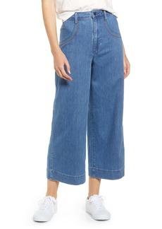 Madewell Rainbow Stitched Emmett Wide Leg Crop Jeans (Rainbow Indigo Wash)
