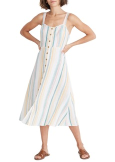 Madewell Rainbow Stripe Linen Midi Dress