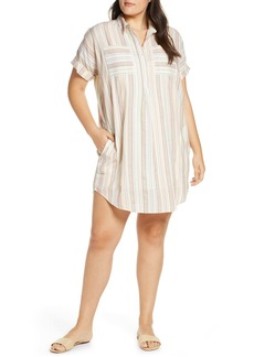 Madewell Rainbow Stripe Popover Courier Shirtdress