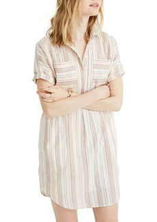 Madewell Rainbow Stripe Popover Courier Shirtdress