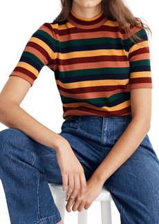 Madewell Rainbow Stripe Ribbed Mock Neck Top