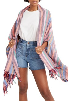 Madewell Rainbow Stripe Silk & Cotton Cape Scarf
