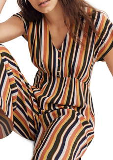 Madewell Rainbow Stripe V-Neck Button Front Jumpsuit