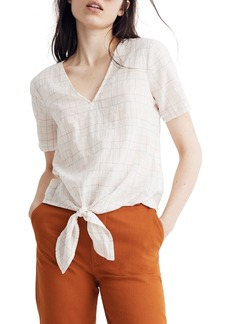Madewell Rainbow Windowpane Tie Front Top