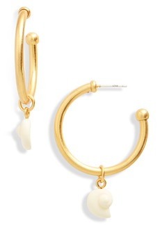 Madewell Resin Shell Charm Hoop Earrings