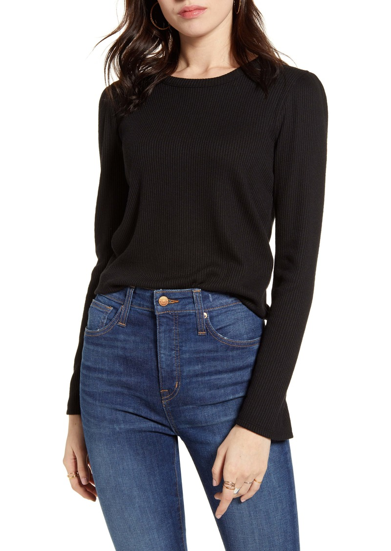 Madewell Rib Gathered Sleeve Top