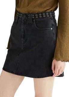 Madewell Rigid Denim A-Line Miniskirt: Grommet Edition