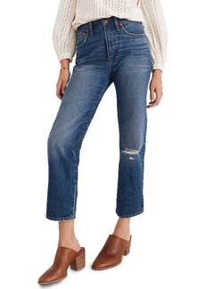 Madewell Ripped Knee Classic Straight Jeans (Jade)