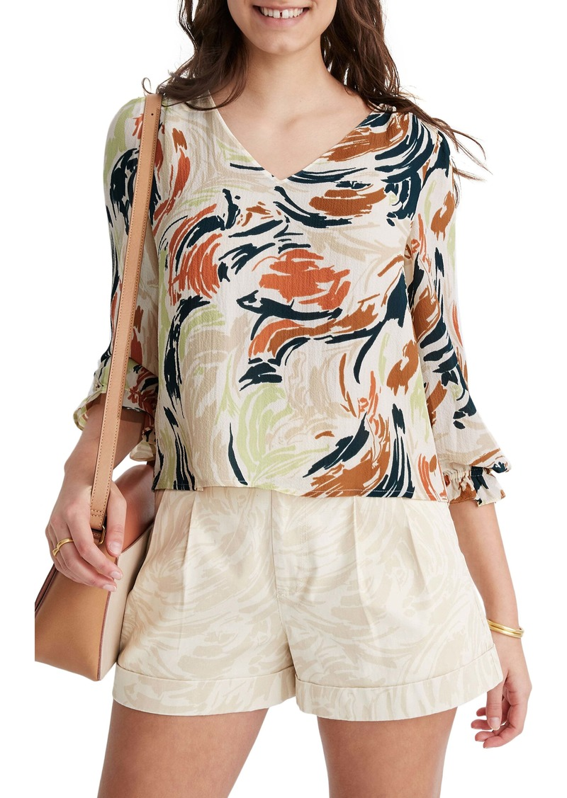Madewell Ruffle Cuff V-Neck Top