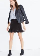 Madewell Ruffle Edge Velvet Skirt