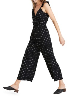 Madewell Ruffle Front Wrap Jumpsuit in Grid Dot