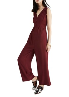 Madewell Ruffle Neck Button Front Jumpsuit