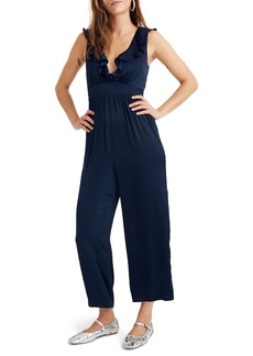 Madewell Ruffle Neck Satin Jumpsuit