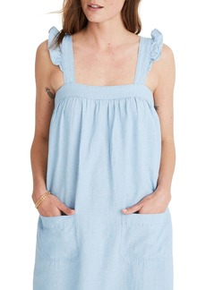 Madewell Ruffle Strap Tiered Chambray Maxi Dress