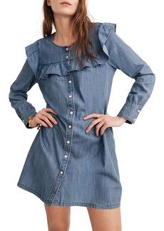 Madewell Ruffle Yoke Chambray Shirtdress