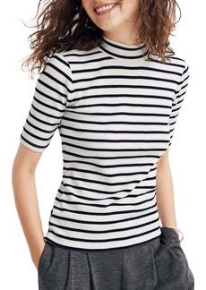 Madewell Sailor Stripe Ribbed Mock Neck Top