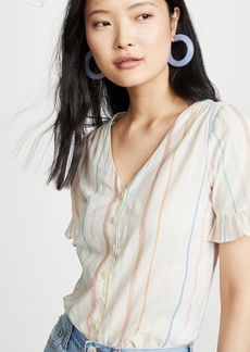 Madewell Sally Stripe Ruffle Button Down Shirt