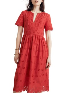 Madewell Scallop Eyelet Midi Dress (Regular & Plus Size)