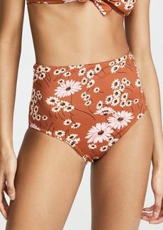 Madewell Second Wave Retro High-Waisted Bikini Bottoms in Hillside Daisies