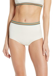 Madewell Second Wave Rainbow Trim Retro High Waist Bikini Bottoms