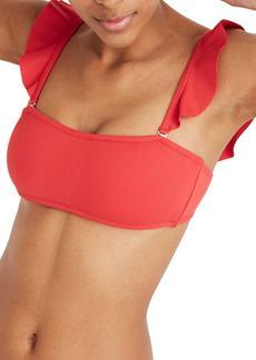 Madewell Second Wave Ribbed Ruffle Strap Bandeau Bikini Top