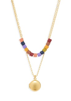 Madewell Set of 2 Rainbow Beaded Locket Necklaces