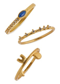 Madewell Shapes & Stones Set of 3 Rings