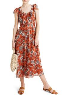 Madewell Sheer Sleeve Button Front Dress