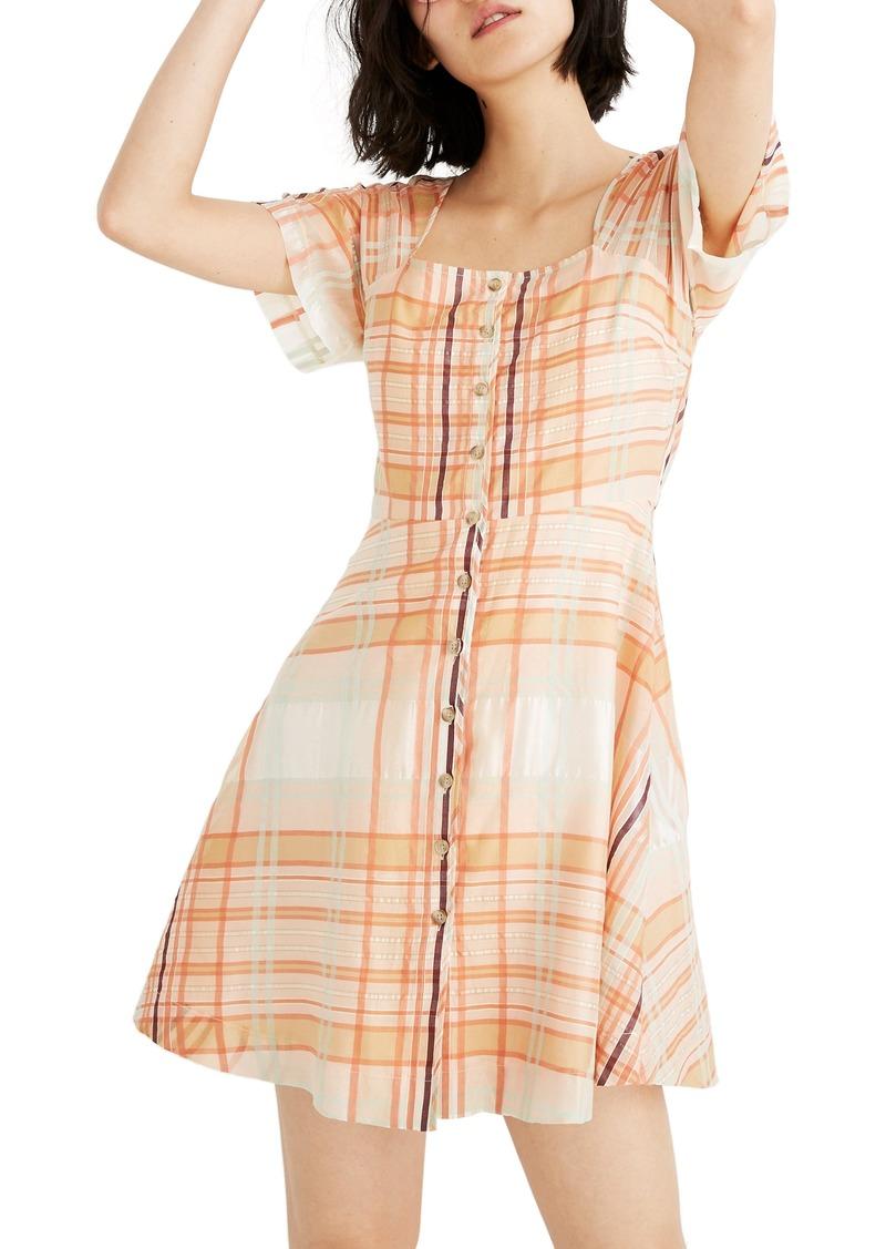 Madewell Shimmer Plaid Minidress