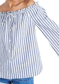 Madewell Shimmer Stripe Off the Shoulder Top