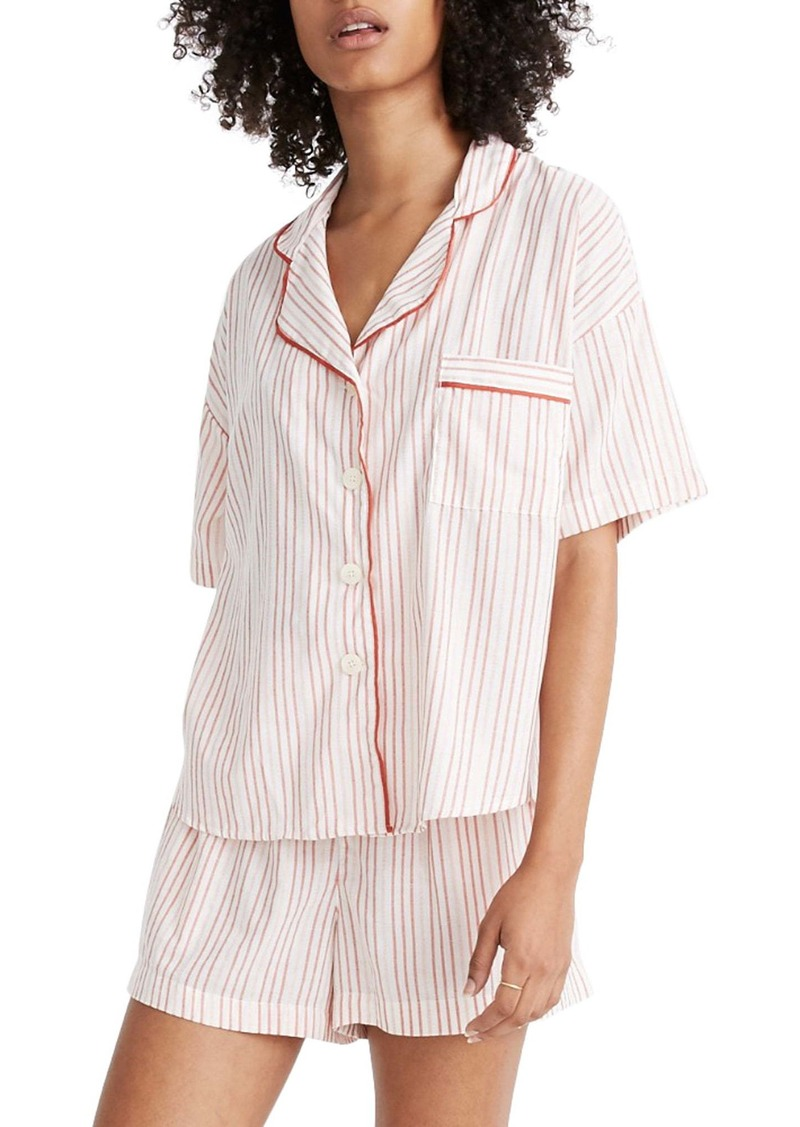 Madewell Shimmer Stripe Oversize Pajama Shirt