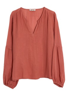 Madewell Shirred Neck Balloon Sleeve Top