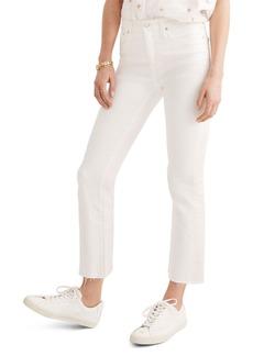 Madewell Short Cali Raw Edge Demi Boot Jeans (Pure White)